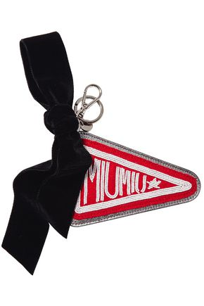 MIU MIU Beaded felt, velvet and textured-leather keychain