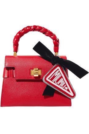 MIU MIU Beaded felt, velvet and textured-leather keychain