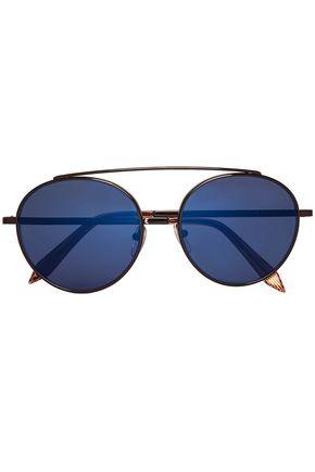 VICTORIA BECKHAM Round-frame metal mirrored sunglasses