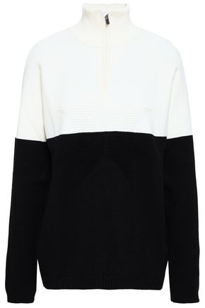 FUSALP Two-tone jacquard-knit turtleneck top