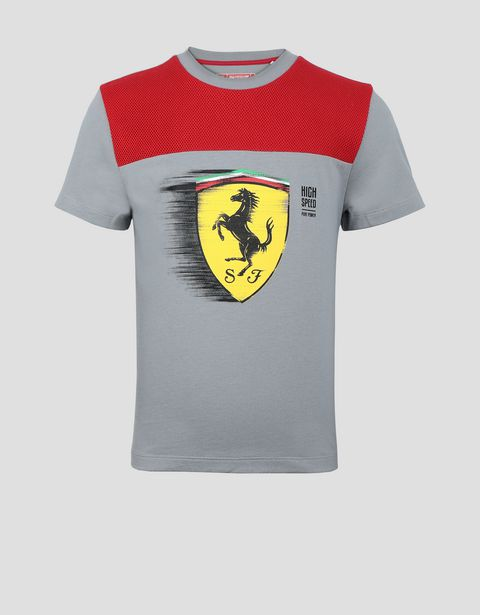 Child's T-shirt with dynamic Ferrari Shield print