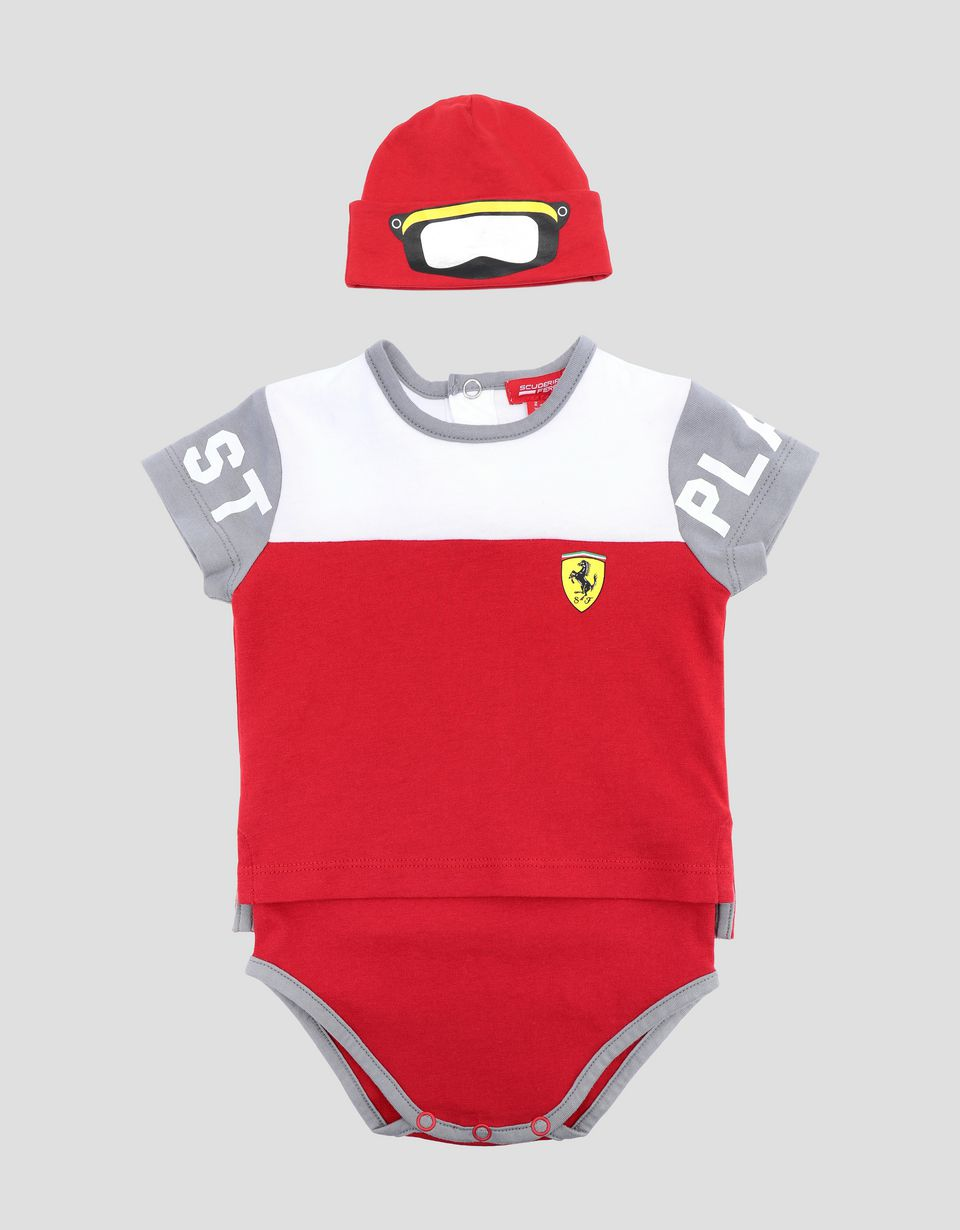 Scuderia Ferrari Online Store - Infant Scuderia Ferrari bodysuit and hat set - Baby & Kids Sets