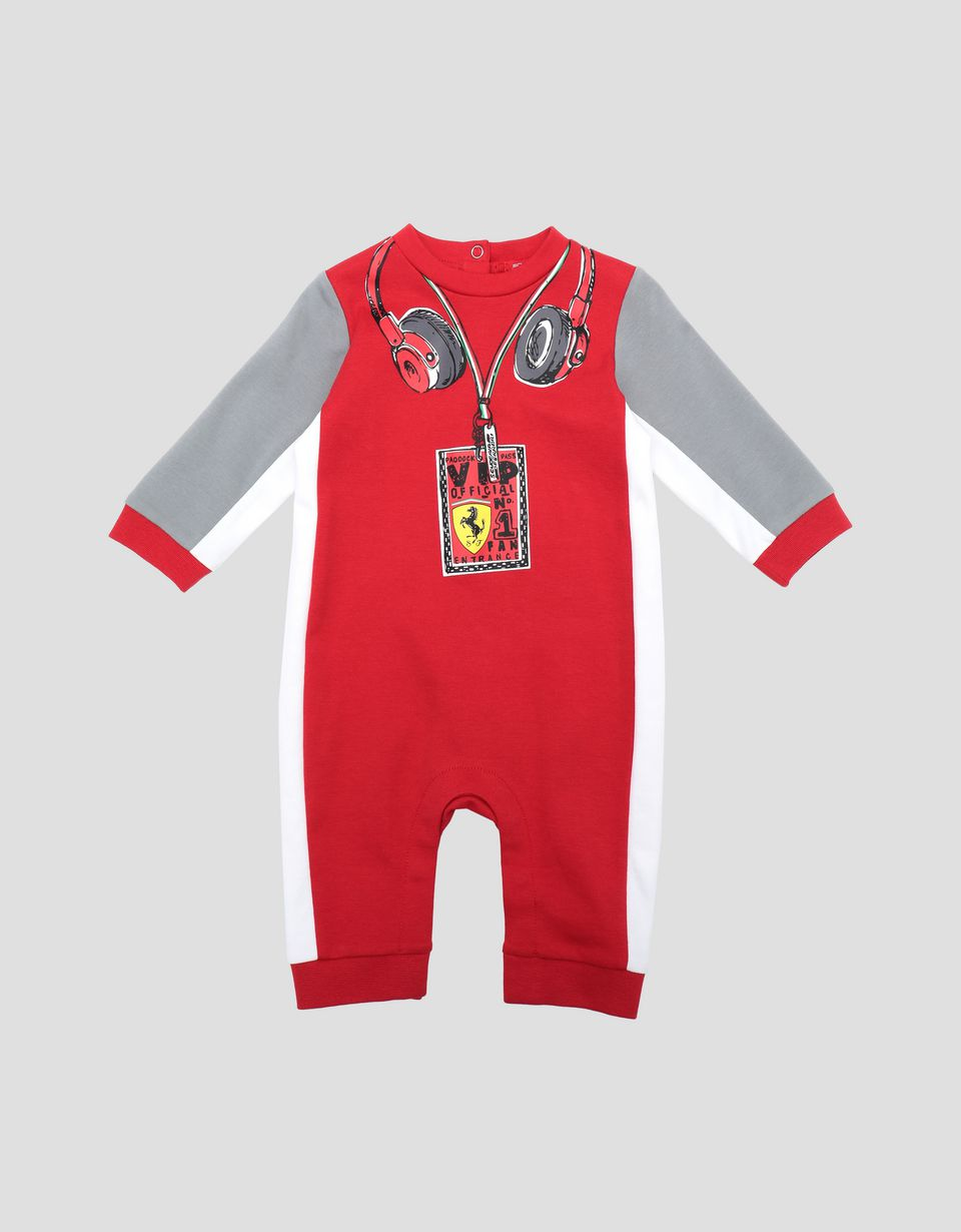 Scuderia Ferrari Online Store - Infant's racing suit for boys in Interlock cotton - Jumpsuits