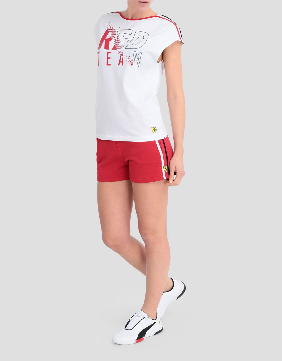 Scuderia Ferrari Online Store - Women's shorts in French Terry with contrasting stripes - Shorts
