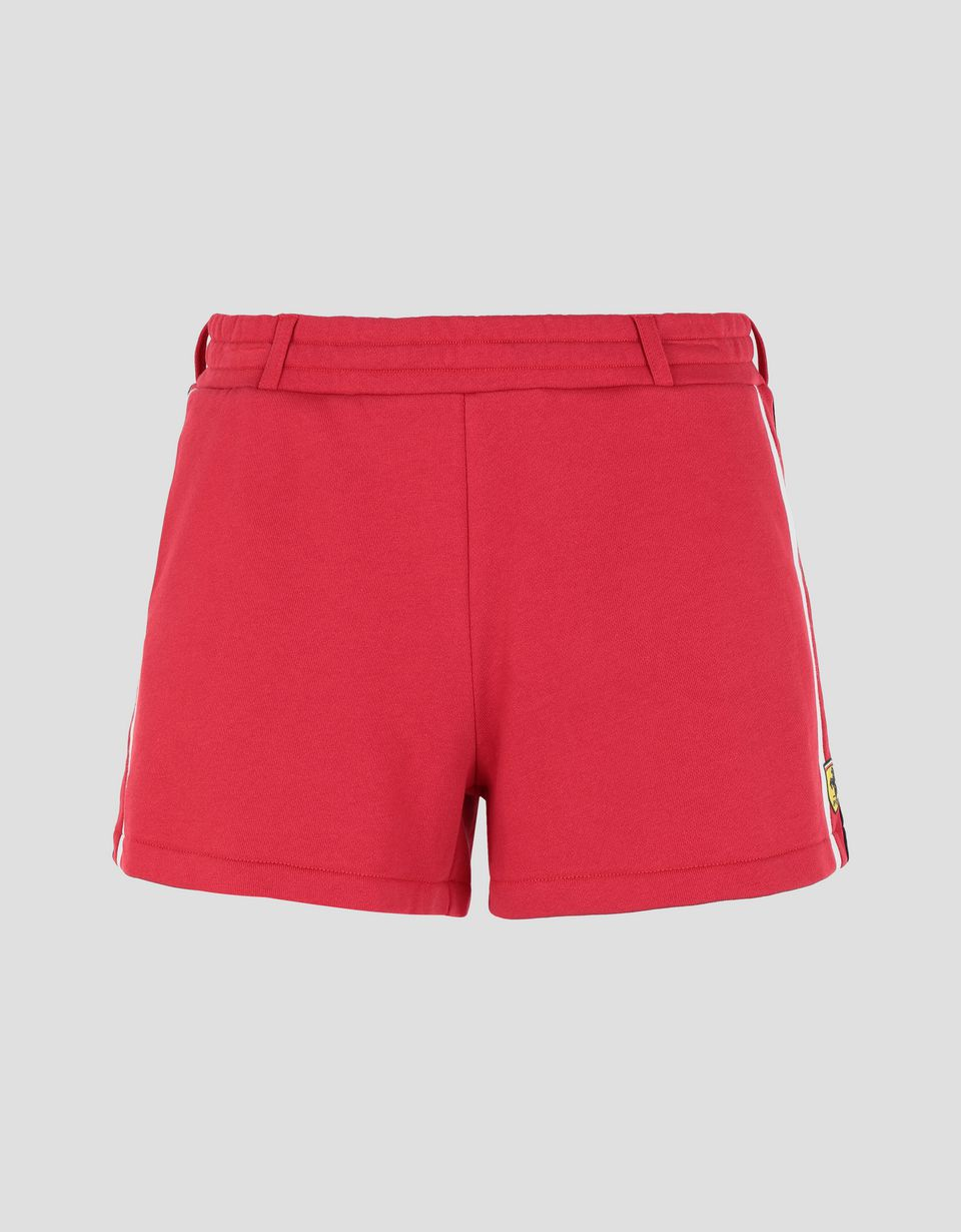 Scuderia Ferrari Online Store - Women's French terry shorts with contrasting stripes -