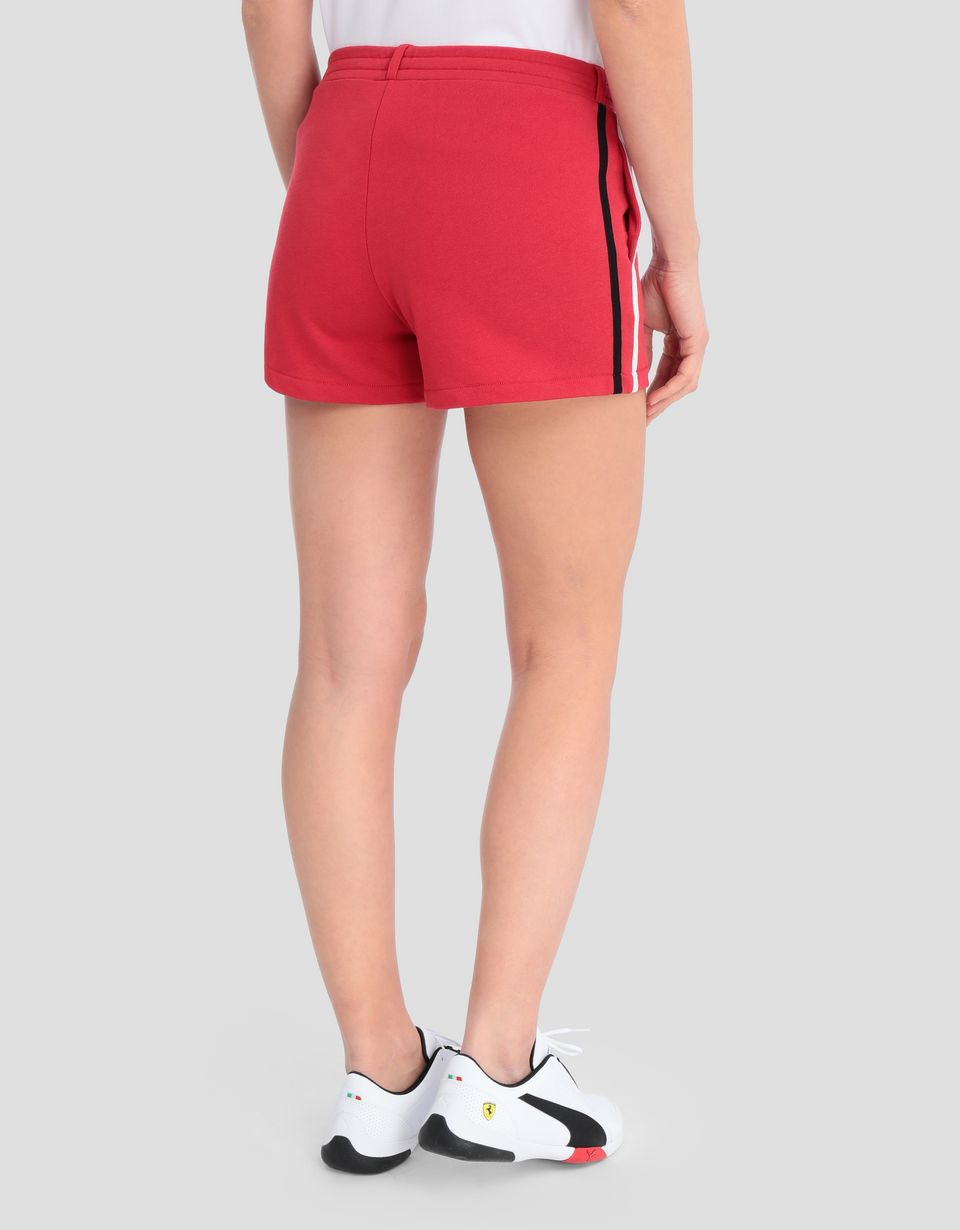 Scuderia Ferrari Online Store - Women's French terry shorts with contrasting stripes - Shorts