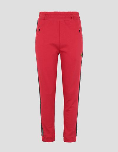 Scuderia Ferrari Online Store - Women's joggers in French Terry with Icon Tape - Joggers