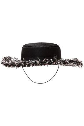 EUGENIA KIM Brigitte hemp-blend, grosgain and frayed tweed hat