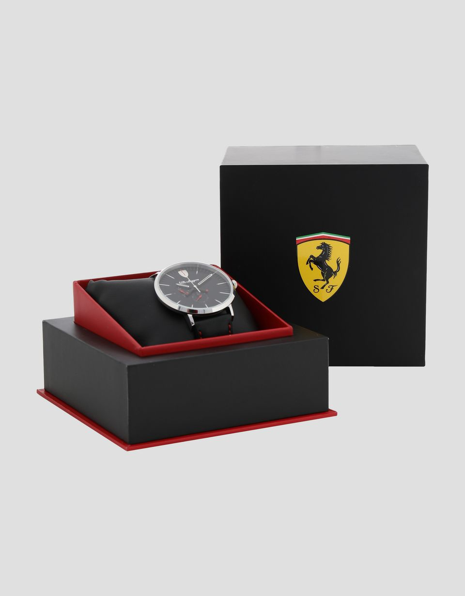 Scuderia Ferrari Online Store - Ultraleggero multifunction watch with leather wrist strap -