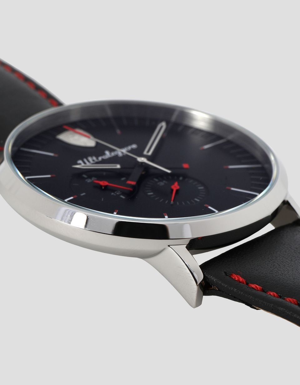 Scuderia Ferrari Online Store - Ultraleggero multifunction watch with leather wrist strap - Quartz Watches
