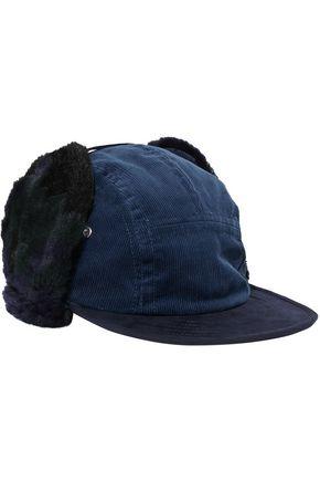 SACAI Faux shearling-trimmed corduroy hat