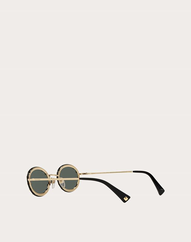CRYSTAL STUDDED OVAL METAL SUNGLASSES