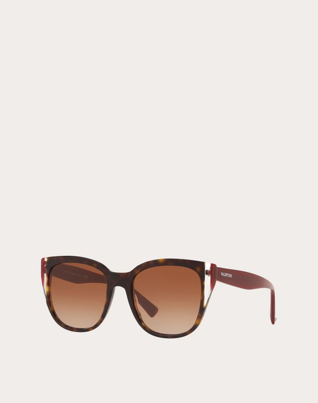 COLOR-BLOCK SQUARE FRAME ACETATE SUNGLASSES