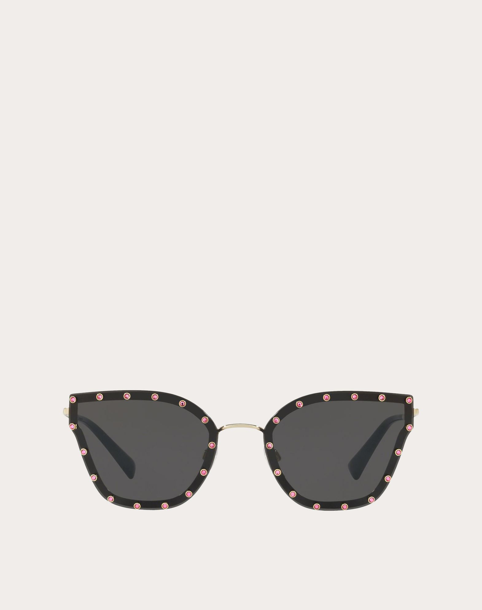 CRYSTAL STUDDED CAT-EYE METAL SUNGLASSES