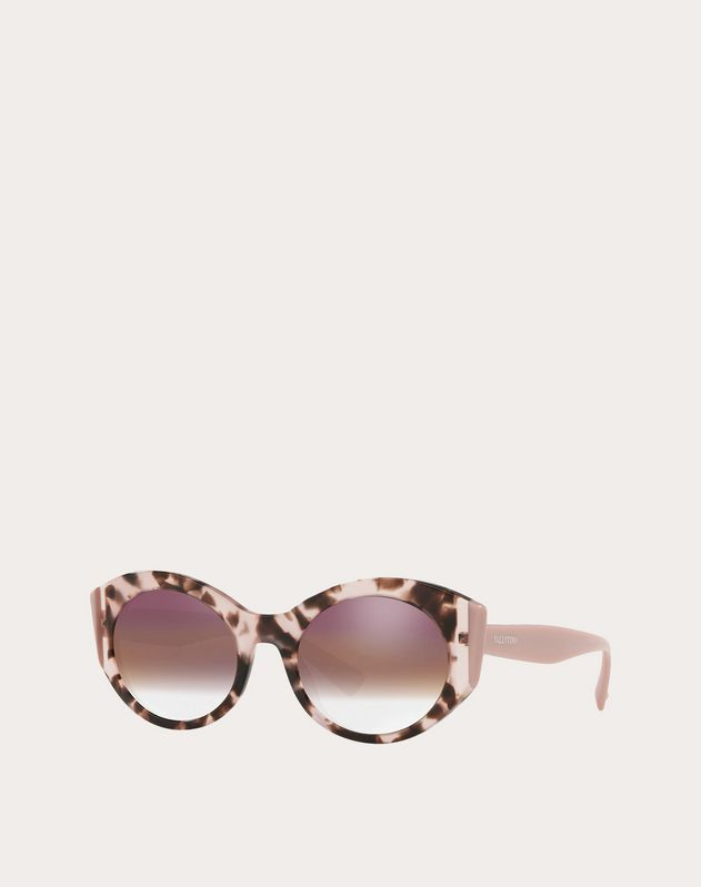 COLOR-BLOCK OVAL FRAME ACETATE SUNGLASSES