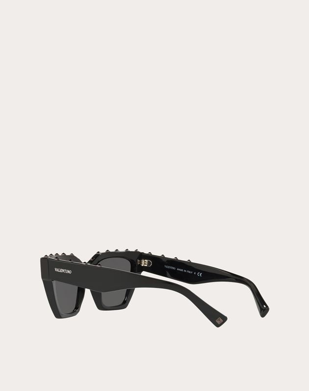 RECTANGLE FRAME ROCKSTUD ACETATE SUNGLASSES