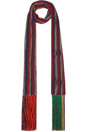 MISSONI Fringed metallic striped crochet-knit scarf