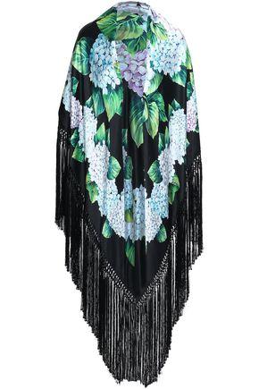 DOLCE & GABBANA Fringed floral-print silk-blend satin shawl