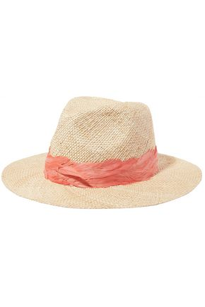 EUGENIA KIM Courtney feather-embellished straw sunhat