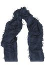 CHLOÉ Fringe-trimmed intarsia wool and silk-blend scarf