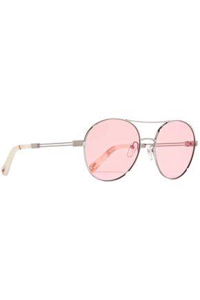 CHLOÉ Aviator-style silver-tone sunglasses