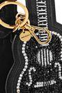 MIU MIU Velvet-trimmed embellished suede keychain