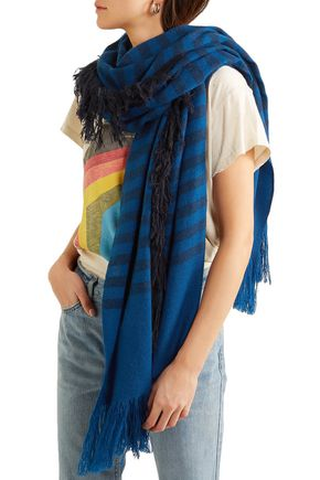 MELT Fringed striped wool-gauze scarf