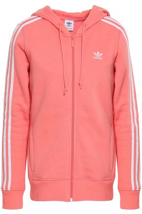 ADIDAS ORIGINALS Striped French cotton-blend terry hoodie