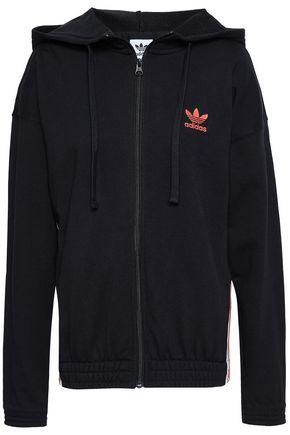 ADIDAS ORIGINALS 刺繡入り フレンチパイル地 フード付きジャケット