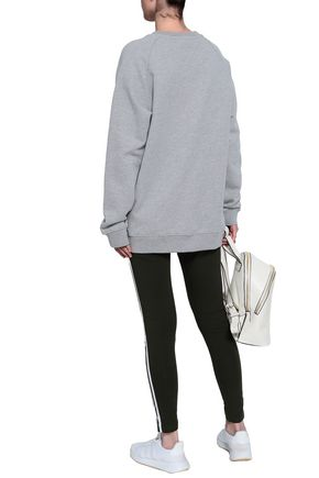 ADIDAS ORIGINALS Oversized printed mélange French cotton-terry sweatshirt
