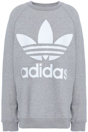 ADIDAS ORIGINALS Oversized printed mélange French cotton-terry sweatshirt