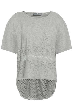ADIDAS BY STELLA MCCARTNEY | Adidas By Stella Mccartney Mesh-Trimmed Printed Cotton-Jersey T-Shirt | Goxip
