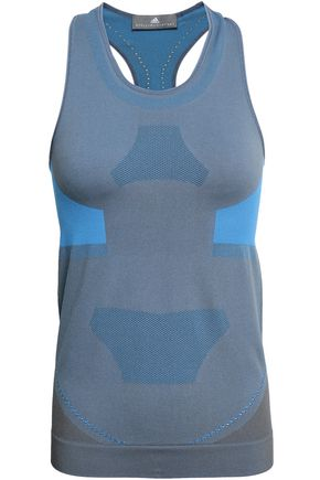 ADIDAS by STELLA McCARTNEY Mesh-trimmed two-tone stretch tank