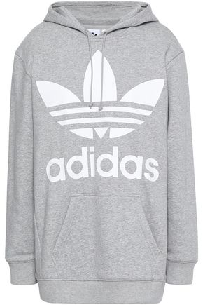 ADIDAS ORIGINALS Mélange printed cotton-blend fleece hooded sweatshirt