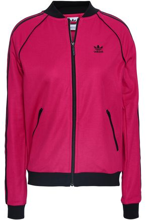 ADIDAS ORIGINALS Striped cotton-blend jersey track jacket