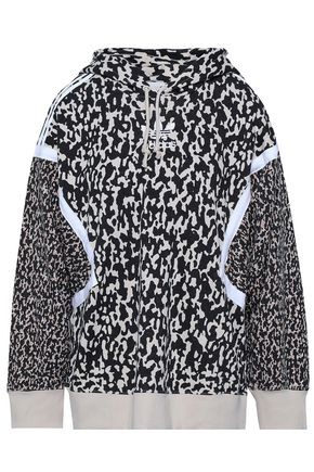 ADIDAS ORIGINALS Embroidered printed cotton-blend hooded jacket