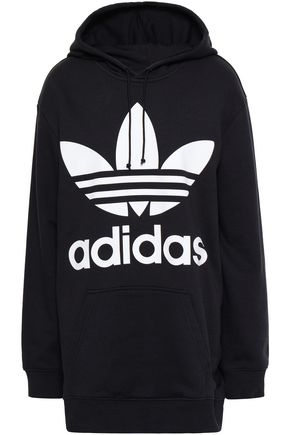 ADIDAS ORIGINALS Printed cotton-blend fleece hooded sweatshirt