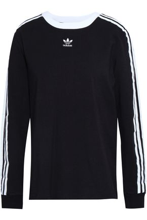 ADIDAS ORIGINALS Embroidered cotton-blend jersey top