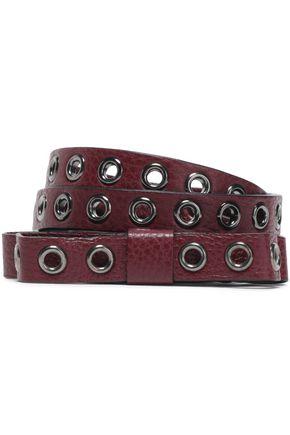 RED(V) Bow and eyelet-embellished textured-leather belt