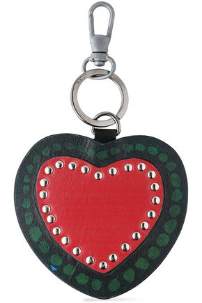 RED(V) Studded printed leather keychain