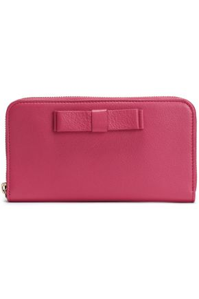 RED(V) Bow-embellished textured-leather wallet