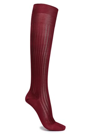 RED(V) Ribbed silk socks
