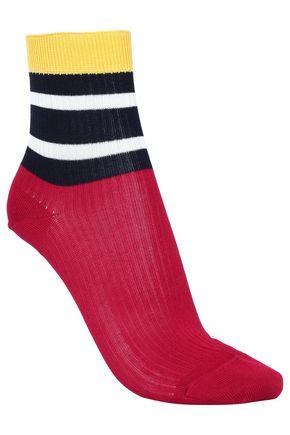 RED(V) Striped ribbed cotton-blend socks