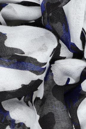 DIANE VON FURSTENBERG Frayed printed modal-gauze scarf