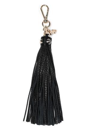 DIANE VON FURSTENBERG Textured-leather tassel keychain