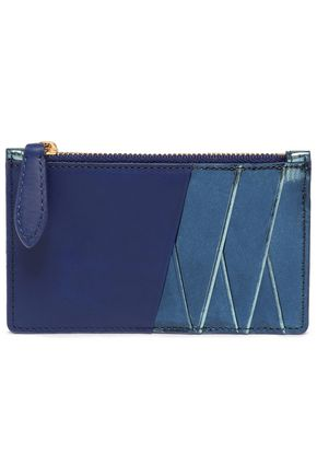 DIANE VON FURSTENBERG Two-tone metallic leather cardholder