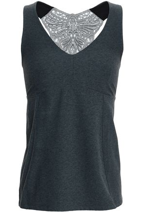 SÀPOPA Lace-trimmed cutout stretch tank