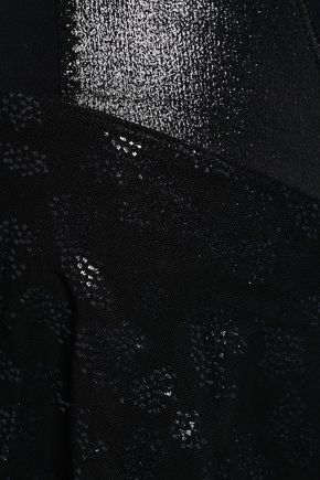 SÀPOPA Josefa ruffled printed mesh-paneled stretch leggings