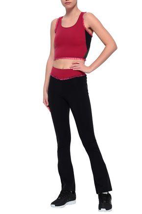 SÀPOPA Ruffle-trimmed color-block stretch track pants