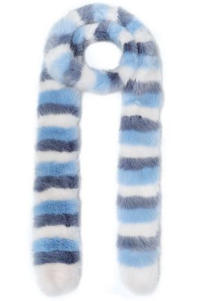 SHRIMPS Striped faux fur scarf